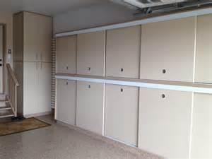 Garage Storage With Doors Slotwall Epoxy Floor Custom Cabinets Sliding Doors Built In Drawers Calgary Garage