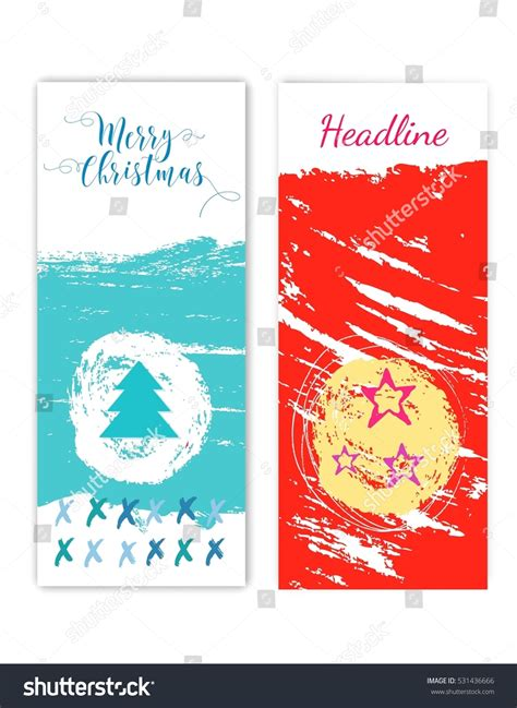 colorful merry christmas flyer posters set template for