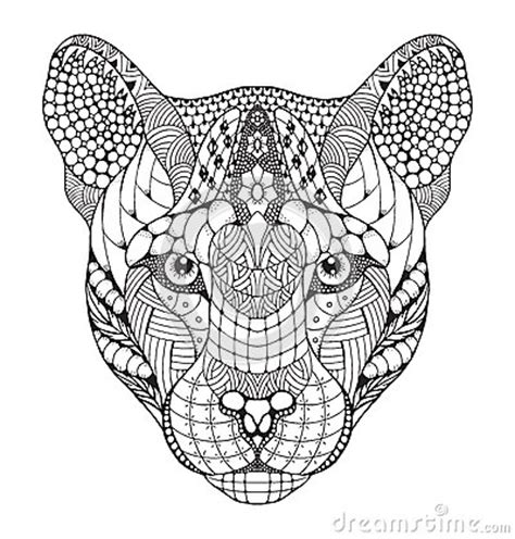 cougar mountain lion puma panther head zentangle