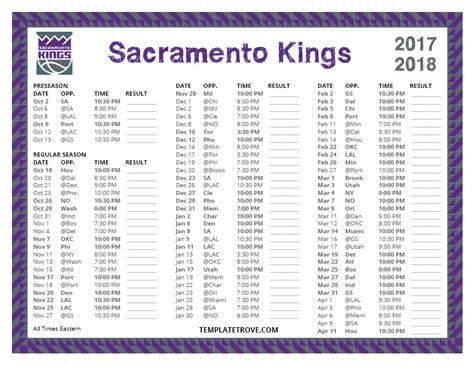 printable kings schedule printable 2017 2018 sacramento kings schedule