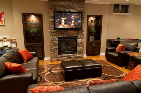Home Stones Decoration Deco Minimalist Decor Of Basement Remodeling Ideas By Creating Simple Contemporary Family Room