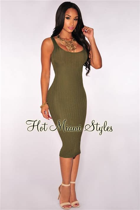 Knit Tank Dress olive ribbed knit tank dress