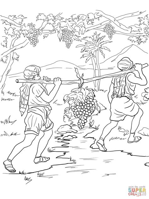 Joshua And Caleb Coloring Pages joshua and caleb returning from canaan coloring page free printable coloring pages