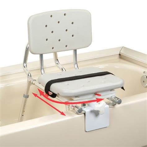 Tub Seats sliding tub mount transfer bench with swivel seat and back
