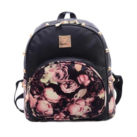 Fashion Mini Bag 980 brand new s rivets backpacks bag fashion faux leather floral printing fashion mini