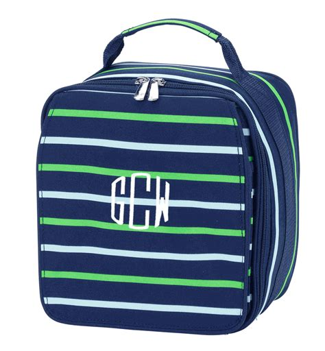 monogram stripe lunch bag