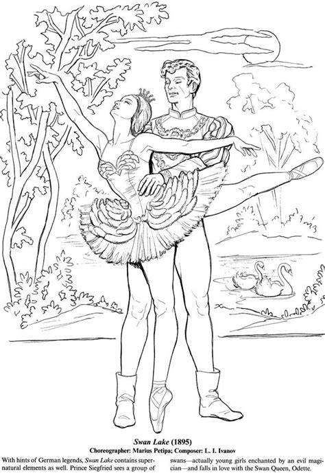 Ballerina Coloring Pages For Adults | favorite ballets coloring book dover publications