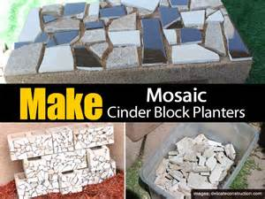 how to make mosaic cinder block planters