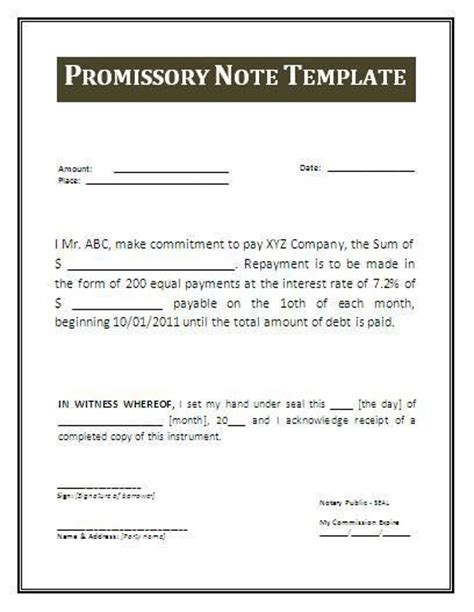 promissory note template arizona printable sle promissory note form form real estate