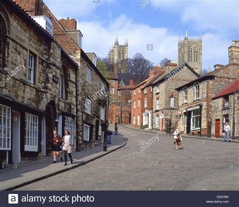 lincoln lincolnshire steep hill showing lincoln cathedral lincoln