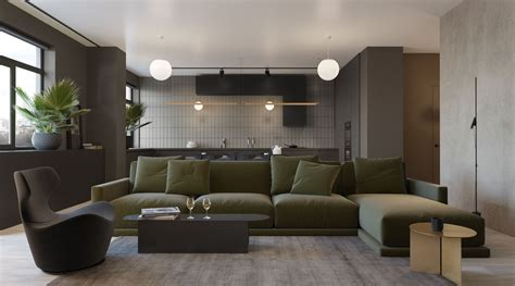 Olive Green Sectional Sofa 2 Sleek Homes That Are Unapologetically Modern Interior Design Ideas Howldb