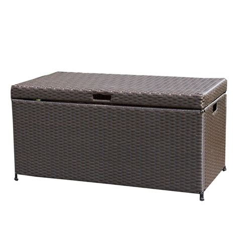 patio box home depot jeco espresso wicker patio furniture storage deck box ori003 a the home depot