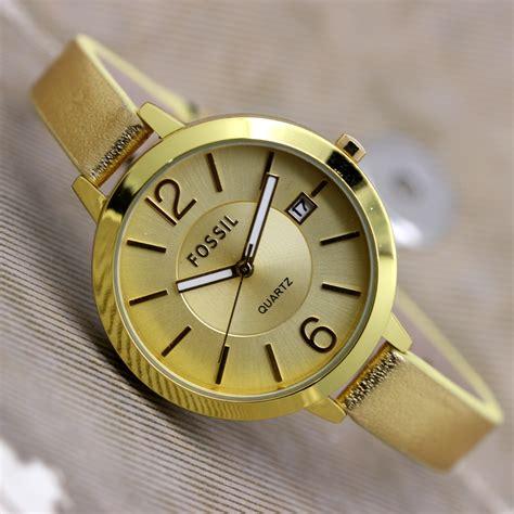 Jam Tangan Wanita Cewek Fossil Fj08 jual jam tangan wanita cewek fossil mini tali kulit simple baru jam tangan wanita