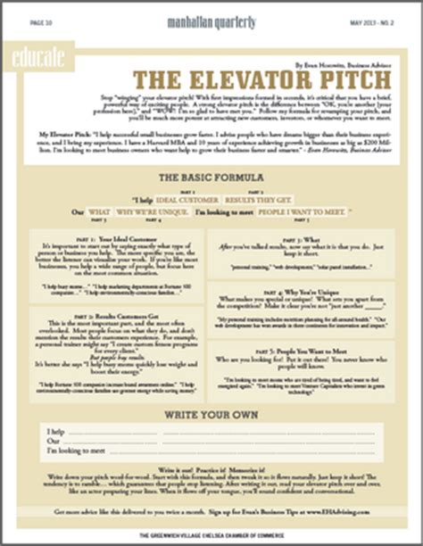 Formula For A Killer Elevator Pitch One Page Business Pitch Template