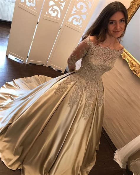 gold lace formal elegant wedding dinner menu 4x9 25 vintage gold lace long sleeves satin ball gowns wedding