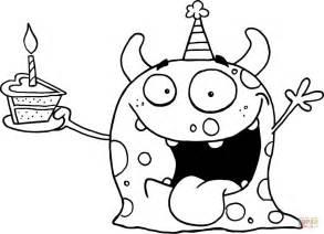 disegno mostro felice festeggia il compleanno una torta da colorare disegni da colorare