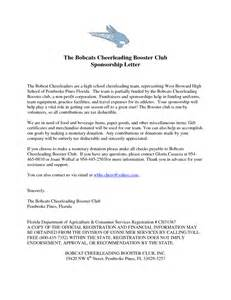 Donation Letter For Booster Club Cheerleading Sponsorship Letter Sle