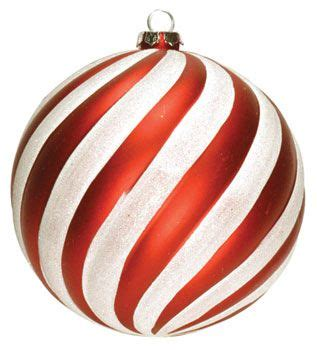 6 quot red and white striped ball ornament dekra lite