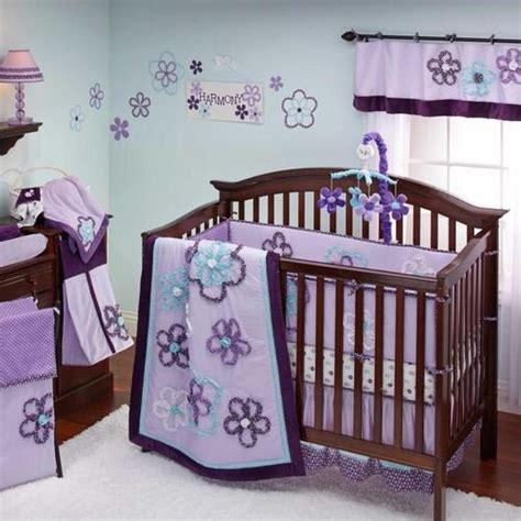 8pc Light Purple Blue Dark Purple Floral Nursery Crib Baby Crib Bedding Sets Purple