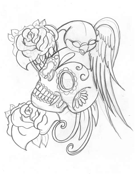 roses bird candy skull tattoo samples real photo