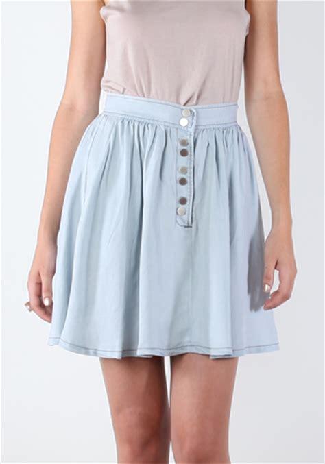 Paneled Denim Flare Mini Skirt denim skirt flared dress ala
