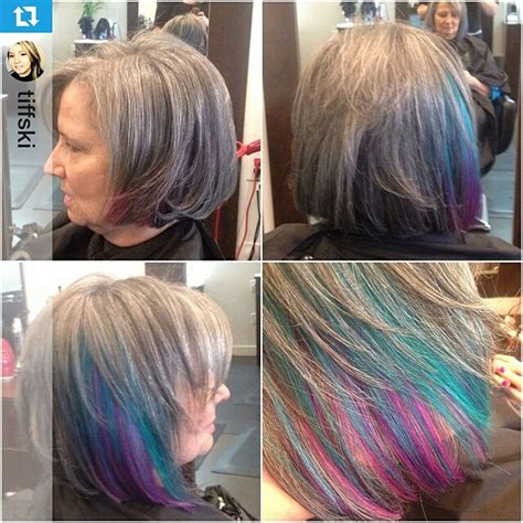 salt and pepper hair with lilac tips salt and pepper hair with lilac tips top 25 ideas about