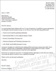 Cover Letter For Claims Adjuster by Claims Adjuster Cover Letter Sle