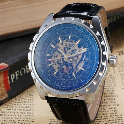 Jam Tangan Pria Laki Tali Kulit perunggu antik pria jam tangan kerangka jam laki laki tali