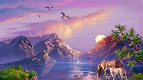 beautiful art pictures beautiful fantasy art background mountain ezero konji