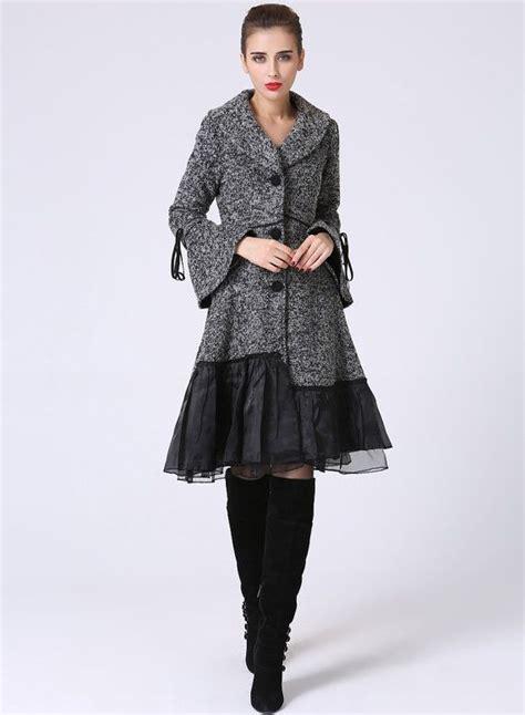 Ho2888 Topi Fashion Winter Wool Grey dress coat womens coat grey coat wool coat wool jacket winter jacket designer clothing