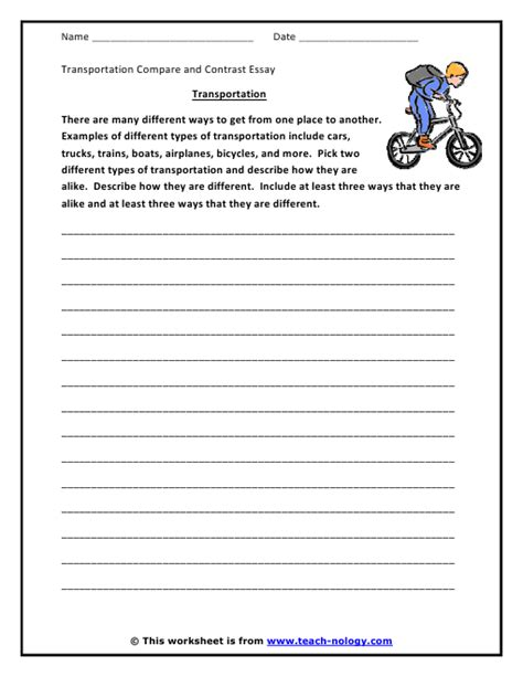 Writing An Essay Worksheet by Transportation Compare And Contrast Essay