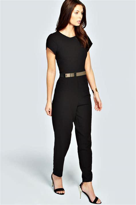 Sale Jumpsuit With Belt boohoo womens layla cap sleeve metal belt jumpsuit ebay