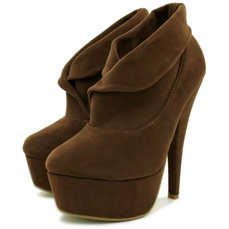womens brown suede style stiletto heel platform ankle shoe