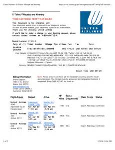 Ticket Receipt Template by 8 Best Images Of Airline Itinerary Sle Flight