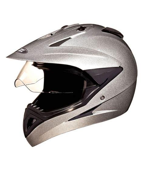 studds motocross helmet studds full face helmet motocross plain silver grey