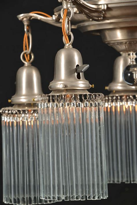 1930s Lighting Fixtures 1930s Pan Fixture With Pencil Thin Crystals At 1stdibs