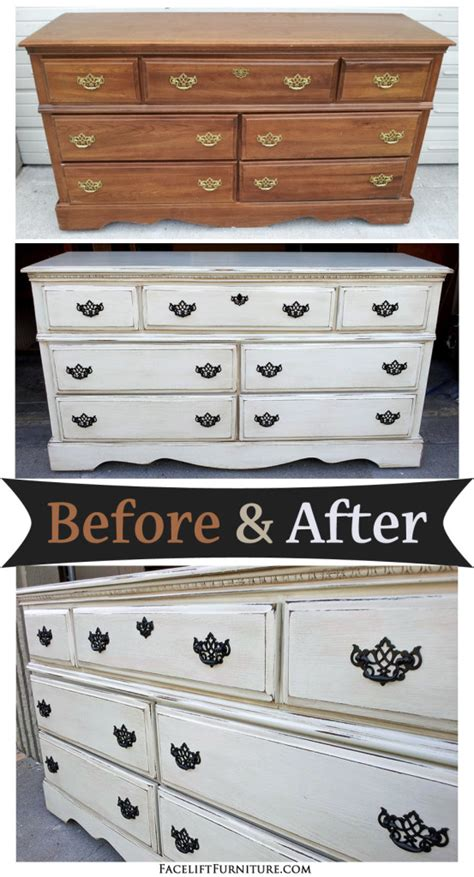 painting bedroom furniture before and after off white dresser with espresso glaze before after