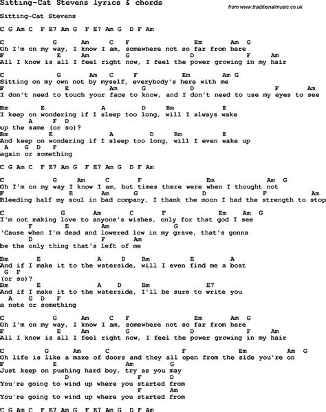cat song lyrics song lyrics for sitting cat with chords