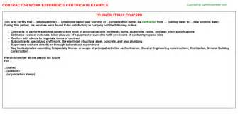 contractor experience letter sle