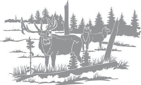 elk   field  trees pre cut patterns