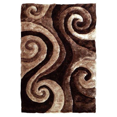 Donnieann 3d Shaggy Abstract Swirl Design Brown 5 Ft X 7 Swirl Area Rug