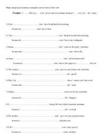 past simple worksheet simple past teachers board