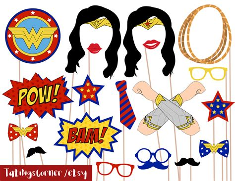 printable superhero photo booth props wonder woman photobooth prop birthday photo booth props