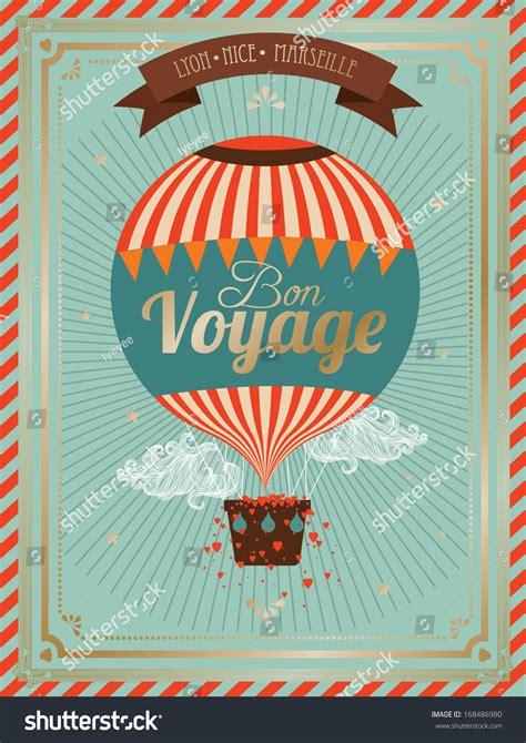 bon voyage card template vintage air balloon bon voyage stock vector 168486980
