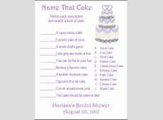 24 Personalized NAME THAT CAKE Bridal Shower Game by Print4U