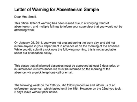 termination letter format absenteeism letter of warning
