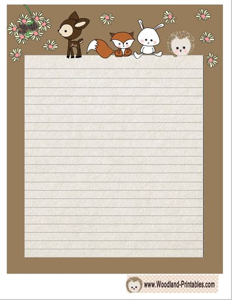 rainforest writing paper free printable woodland animals writing paper