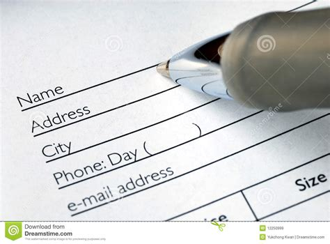 Search For Name By Address Fill In The Name And Address Stock Image Image 12250999