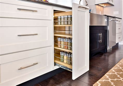 hip white kitchen cabinet with spice organizers kitchen open floor plan kitchen design photos cliqstudios