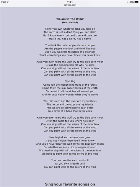 colors of the wind song pocahontas colours of the wind song lyrics